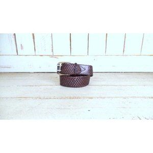 Wide dark brown woven leather Michael Kors belt/vintage 90s braided leather stat